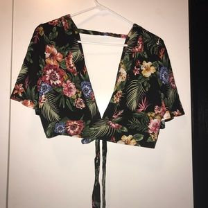 Forever 21 Floral Back Tie Top